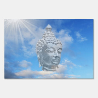 silver buddha in sky sign