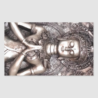 Silver Buddha Rectangular Sticker