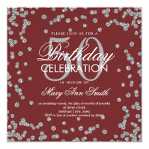 Silver Burgundy 50th Birthday Glitter Confetti Card