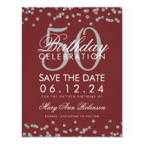 Silver Burgundy 50th Birthday Save Date Confetti Card
