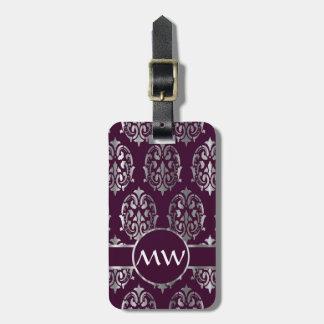 Silver & burgundy damask luggage tag