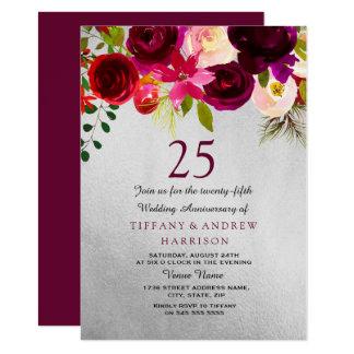 Silver & Burgundy Floral 25th Wedding Anniversary Invitation