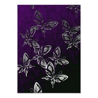 Silver Butterflies Gothic Invitation