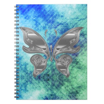 Beach Themed Silver Butterfly on Dreamy Blue Green Sky Notebook