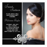 Silver Butterfly Photo Sweet Sixteen Birthday Announcements