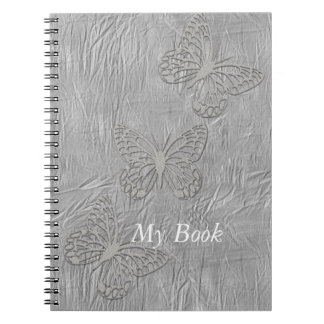 Silver Butterfly Silk Baby Shower Wedding Party Notebook