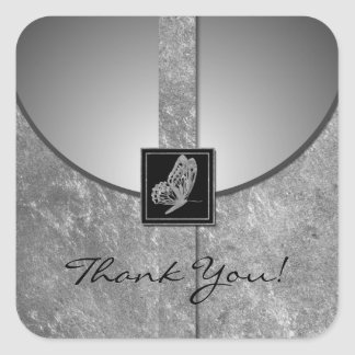 Silver Butterfly Wedding Favor Thank You Stickers