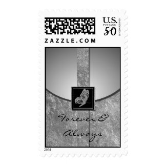 Silver Butterfly Whimsy Wedding Postage Stamp
