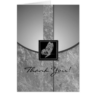 Silver Butterfly Whimsy Wedding Thank You Card