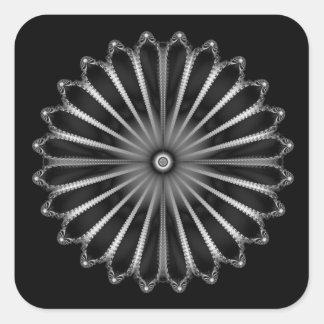 Silver Button Square Sticker