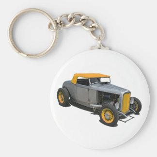 Silver Cabriolet Basic Round Button Keychain