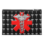 Silver Caduceus And Medical Cross Travel Accessory Bag