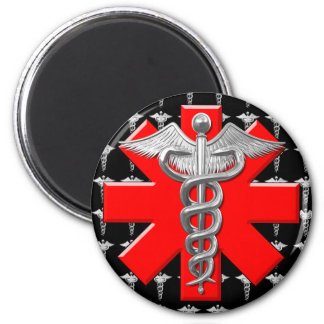 Silver Caduceus And Medical Cross 2 Inch Round Magnet
