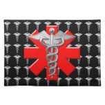 Silver Caduceus And Medical Cross Placemats