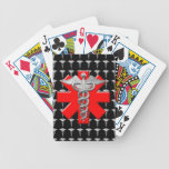 Silver Caduceus And Medical Cross Bicycle Playing Cards