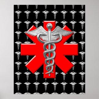 Silver Caduceus And Medical Cross Print