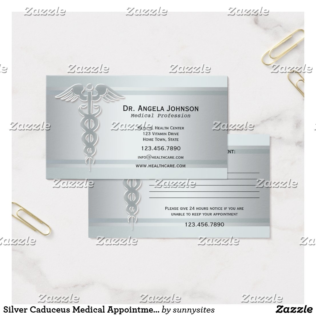 Silver Caduceus Medical Appointment Business Card