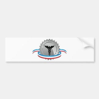Silver Caduceus Medical Star Ribbon Badge Icon Bumper Sticker
