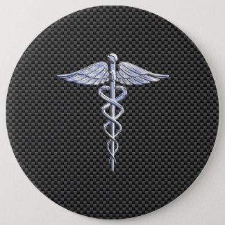 Silver Caduceus Medical Symbol Carbon Fiber Style Button