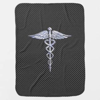 Silver Caduceus Medical Symbol Carbon Fiber Style Receiving Blanket