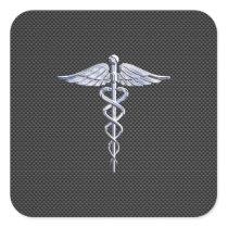 Silver Caduceus Medical Symbol Carbon Fiber Style Square Sticker