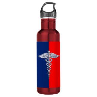 Silver Caduceus Medical Symbol League Water Bottle
