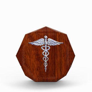 Silver Caduceus Medical Symbol Mahogany Decor Acrylic Award