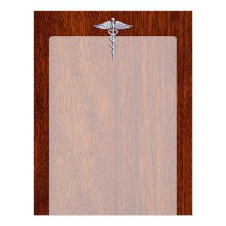 Silver Caduceus Medical Symbol Mahogany Decor Letterhead