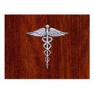 Silver Caduceus Medical Symbol Mahogany Decor Postcard