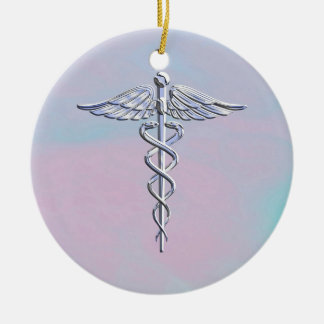 Silver Caduceus Medical Symbol Mother Pearl Decor Ceramic Ornament