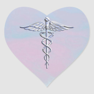Silver Caduceus Medical Symbol Mother Pearl Decor Heart Sticker