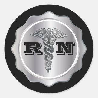 Silver Caduceus RN Nurse | Medical Classic Round Sticker