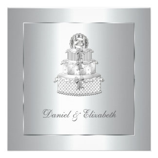 Silver Cake 25th Wedding Anniversary Party Custom Announcements