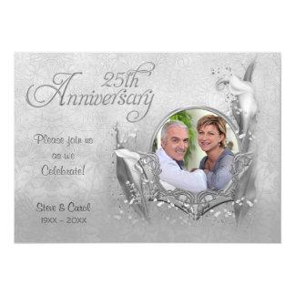 Silver Calla Lily 25th Wedding Anniversary Personalized Invites