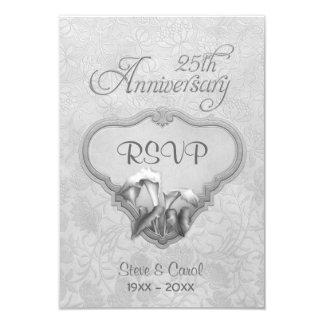Silver Calla RSVP 25th Wedding Anniversary Card