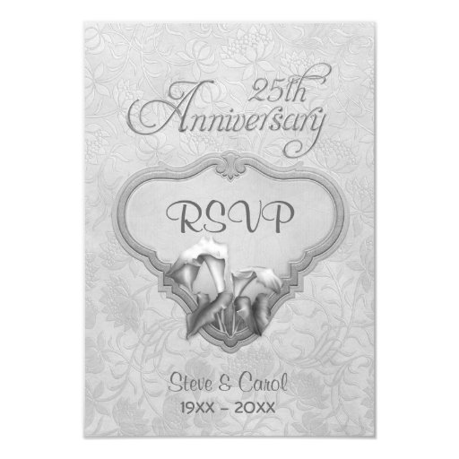 25th Wedding Anniversary Gift Experiences : Silver Calla RSVP 25th Wedding Anniversary Card Zazzle