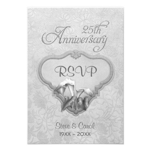 Silver Calla RSVP 25th Wedding Anniversary Personalized Announcement