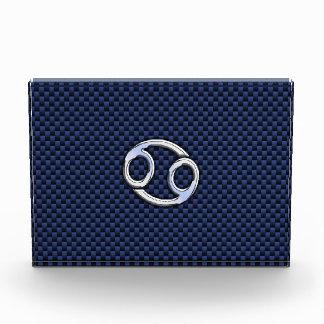 Silver Cancer Sign on Navy Blue Carbon Fiber Print Acrylic Award