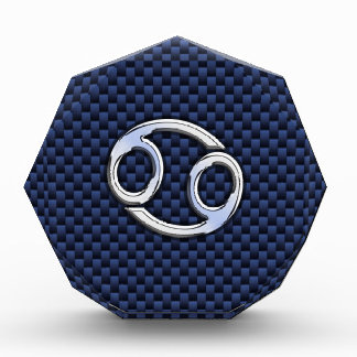 Silver Cancer Sign on Navy Blue Carbon Fiber Print Award