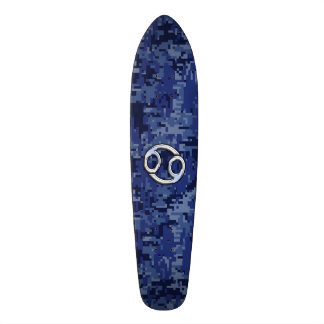Silver Cancer Zodiac Sign Navy Blue Digital Camo Skateboard