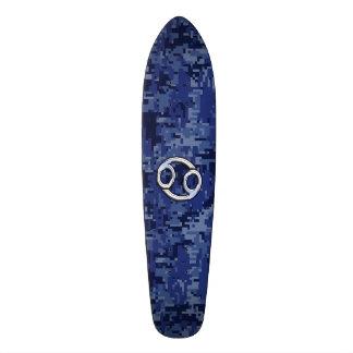 Silver Cancer Zodiac Sign Navy Blue Digital Camo Skateboard