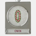 Silver Candy Cane Striped Letter O Silver Plated Banner Ornament