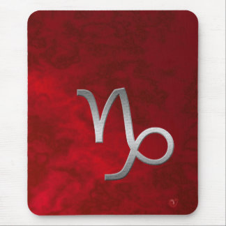silver capricorn - red mouse pad