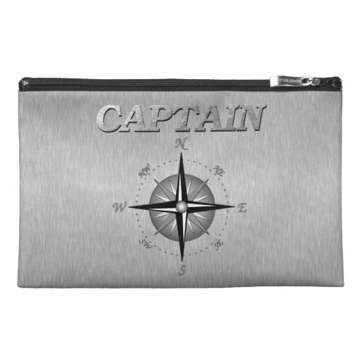 Silver Captain with Compass Rose Travel Accessory Bags