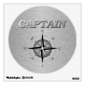 Silver Captain with Compass Rose Room Stickers