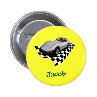 Silver Car Checker Board Flag Personalized Name Pins