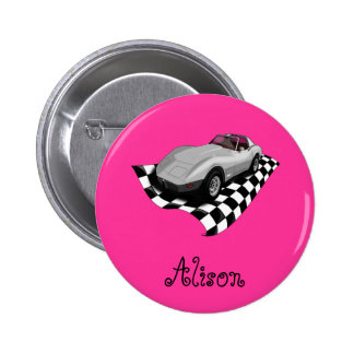 Silver Car Checker Board Flag Personalized Name Buttons