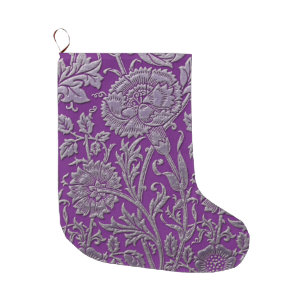 silver carnations on purple large christmas stocking - Purple Christmas Stockings