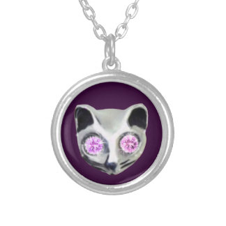 Silver Cat with diamond eyes Silver Plated Necklace