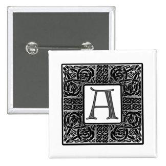 """Silver Celtic """"A"""" Monogram 2 Inch Square Button"""